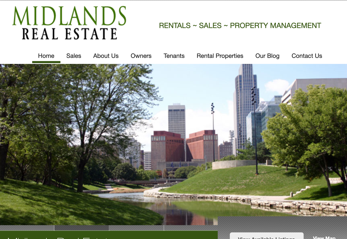 Screen capture of the old Midlands Real Estate website